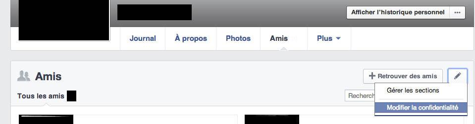 Gérer la confidentialité amis facebook