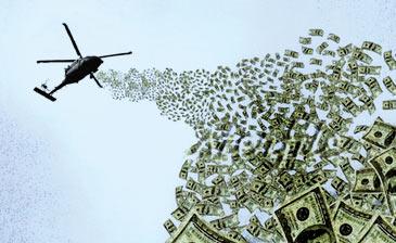 hélicoptère lachant des billets sur une ville pour relancer l'économie