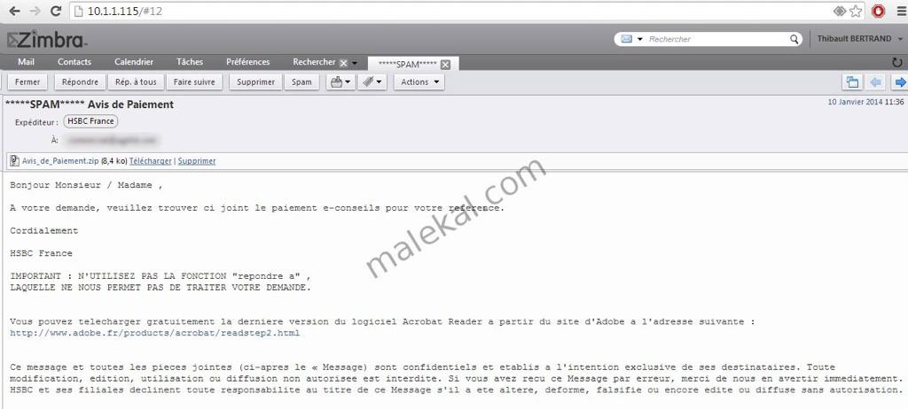 Un exemple de faux mail contenant Zeus
