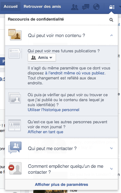 Menu 1 Confidentialité Facebook