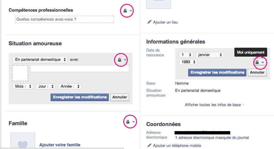 Petit cadenas facebook confidentialité